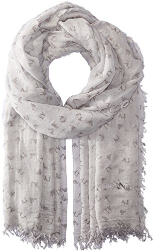 Armani Jeans Women's Rose Print Woven Scarf, medium grey, One Size by ARMANI JEANS