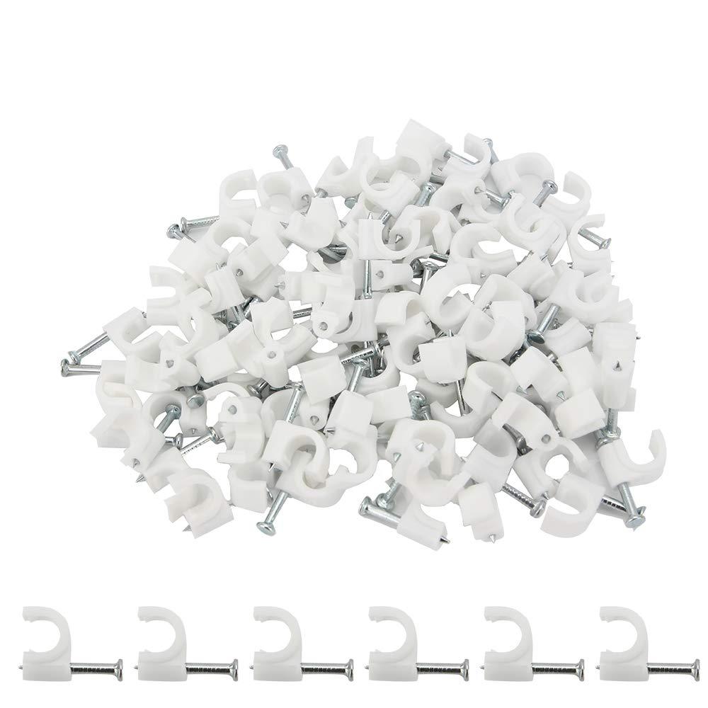 SENZEAL 200 pezzi cavo per unghie cavo metallico da 6 mm fermaglio per fissaggio a muro morsetto chiodo elettrico clip per cavo bianca