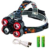 iSeaFly 5 LED Headlamp Rechargeable, 4 Modes, 90º Rotatable, Zoomable LED Head lamp, Waterproof Work Headlight, Bright Head Lights Running Hiking Camping