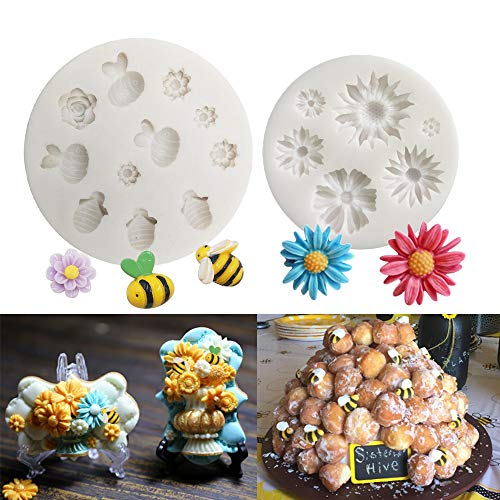 - Mulukaya Bumble Bee and Daisy Flower Cake Fondant Molds Fondant Cupcake Making Tools for Chocolate Candy Gum Paste Polymer Clay