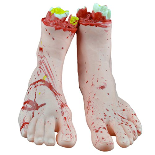 BESTOYARD 1Pair Gory Feet Cut Off Scary Bloody Fake Human Body Parts Halloween Party Decorations Prop (White Feet) ()