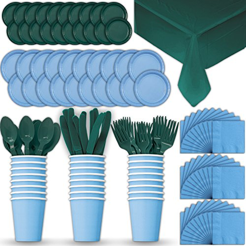 Paper Tableware Set for 24 - Light Blue & Hunter Green - Dinner and Dessert Plates, Cups, Napkins, Cutlery (Spoons, Forks, Knives), and Tablecloths - Full Two-Tone Party Supplies Pack
