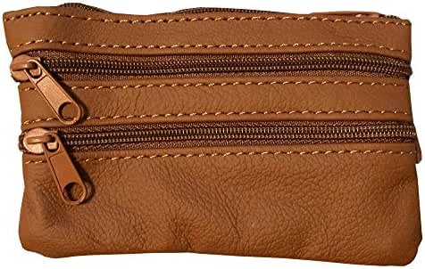 Maven Leathers Genuine Leather Coin Purse with Key Ring