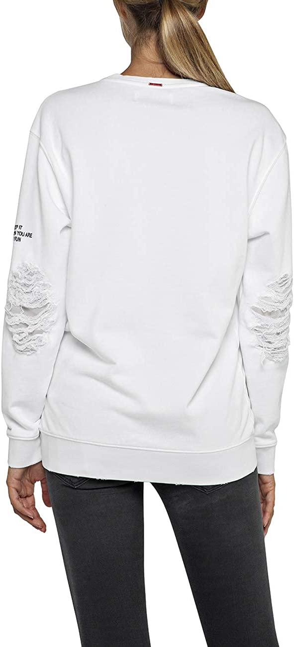 Replay Damen Sweatshirt Weiß (Optical White 1)