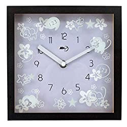 Maytime Indoor Silent Wood Square Wall Clocks Sweep Movement Battery Operated Wall Clock 8 Inch Brownpurple
