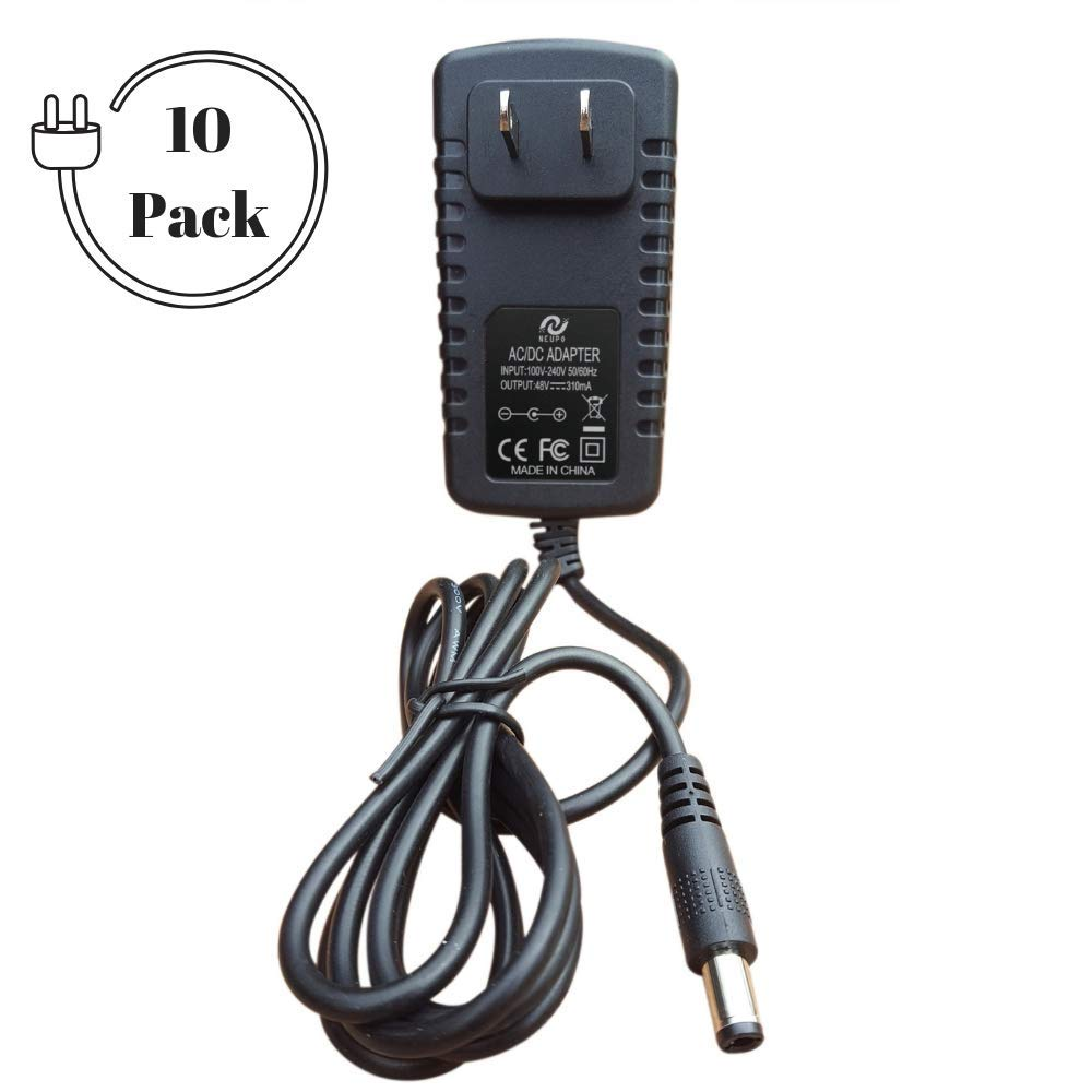 NeuPo 48 Volt Power Supply (10 Pack) | Replacement Power Adapter Compatible with VOIP Polycom IP Phones VVX 201, 300, 301, 310, 311, 400, 401, 410, 411, 1500 2200-46170-001, Sound Point IP 560, 670 by NEUPO