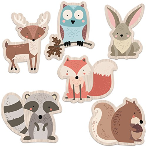 (Woodland Creatures Party Supplies | Nursery and Baby Shower Decorations | Set of 6 HEAVY Card Stock Figures | LARGE, DURABLE and REUSABLE)