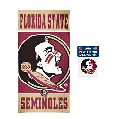 (WinCraft NCAA Florida State University Seminoles 30 x 60 inch Towel and 4 x 4 inch Perfect Cut Decal)