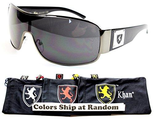 Logo Metal Aviator Shield Sunglasses (A42-kp Khan Shield Wrap Sunglasses (P3035C Gunmetal/Black-Dark, black))