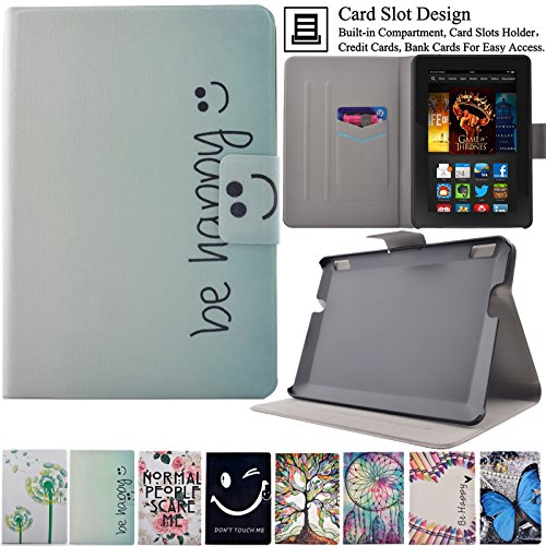 Kindle Fire HDX7 Case, Artyond Ultra Lightweight PU Leather Case Flip Stand Magnet [Auto Wake/Sleep Feature] Protective Slim Folio [Cards Slots] Smart Case For Amazon Kindle Fire HDX 7 2013(Happy)