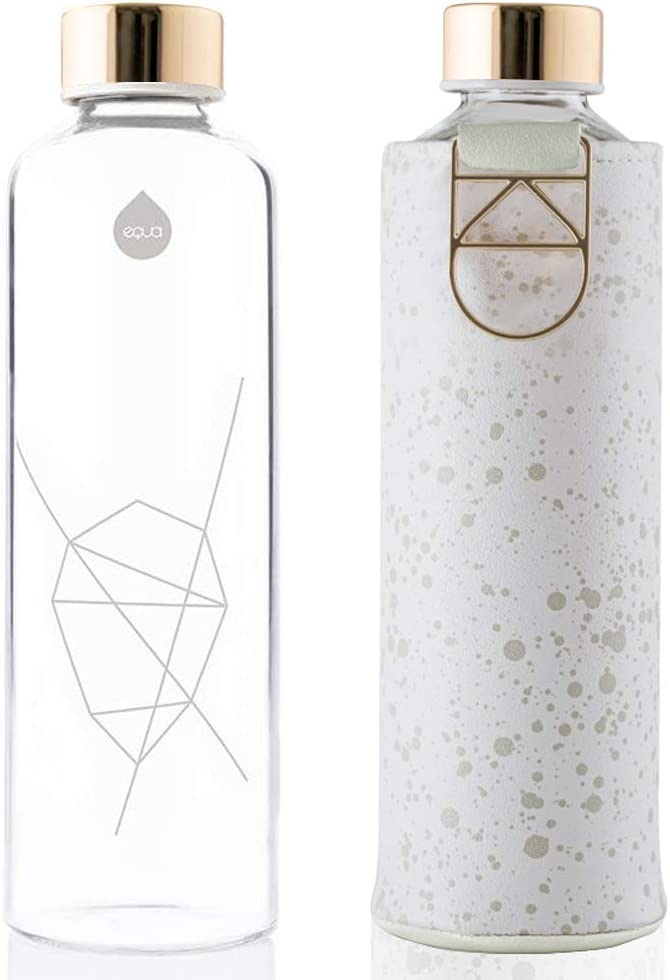 Essence 25 oz Leak Proof and BPA Free EQUA Glass Water Bottle with Faux Leather Sleeve 100/% Borosilicate Glass
