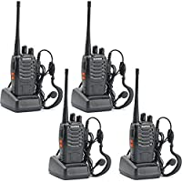 Ammiy baofeng bf-888s Walkie Talkie 16CH Signal Band UHF 400-470 MHz Rechargeable Two Way Radio with Charger(4 Pack of Radios)