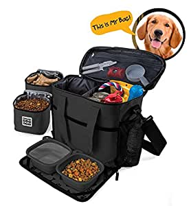 Dog Travel Bag - Week Away Tote For Med And Large Dogs - Includes Bag, 2 Lined Food Carriers, Placemat, and 2 Collapsible Bowls (Black)