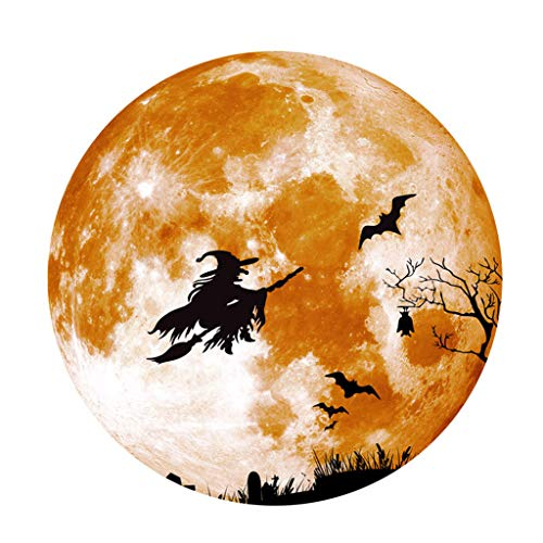 FEDULK Home Decoration Creative Luminous Moon Halloween Sticker Broom Witch Wolf Novelty Wall Sticker(Yellow, Medium)