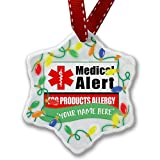 Personalized Name Christmas Ornament, Medical Alert Red Egg Products Allergy NEONBLOND