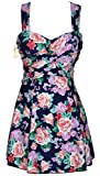 HengJia Women's Elegant Crossover One Piece Swimdress Skirted Bottom Swimsuit (FBA) Peony Floral Print 6XL(US18-20)