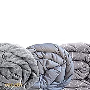 Anxiety Blanket Weighted 15 lbs & Three Cover Bundle | Cooling Cotton, Warm Minky, Ultra Stitched Covers & Inner Heavy Gravity Blanket for Anti Anxiety & to Aid Natural Sleep (Queen, Full Size 60x80)
