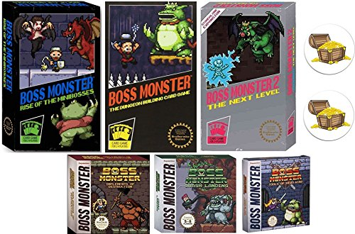 (Boss Monster Card Game Bundle with Boss Monster 1, 2, and 3, Implements of Destruction, Crash Landing, Tools of Hero Kind Plus 2 Treasure Chest)