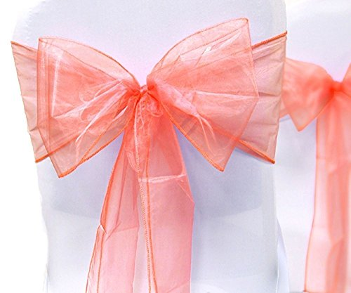 - SF New Pack of 100 Chair Decorative Organza Sashes Bows Designed for Wedding Events Banquet Home Kitchen Decoration Bow sash (Coral)