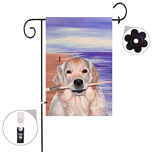 Bonsai Tree burlap golden retriever Spring Garden Flags 12x18 prime double-sided dog yard Outdoor Decorative flag banner Stopper & Anti-wind Clip -