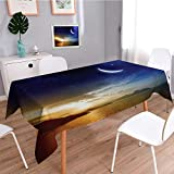 SCOCICI1588 Water Resistant Tablecloth Serene with Lunar and Star Holy Sky over Blue Orange Great for Buffet Table, Parties, Holiday Dinner, Wedding & More-W54 x L72