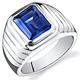 Mens 6.50 Carats Created Sapphire Ring Sterling Silver Rhodium Nickel Finish Octagon Cut Size 12