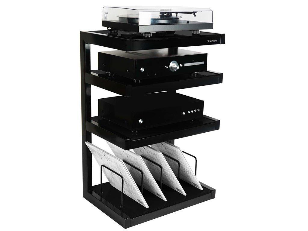 Norstone Meuble Hi Fi Avec Support Pour Disques Noir Amazon Fr  # Meuble Tv Norstone Esse