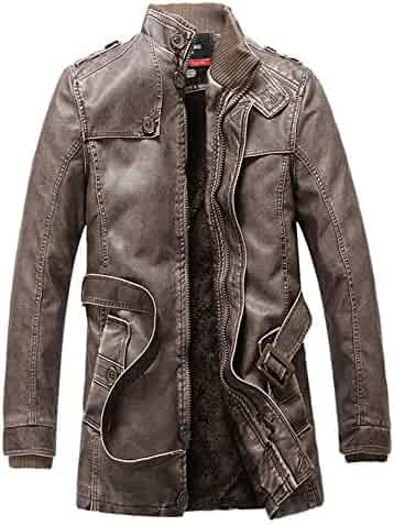 bc0f8a9793f0 iZHH Jacket Leather Pocket Button Thermal Men s Autumn Winter Stand Collar  Coat