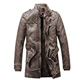 Fashion G-Real Men's Plus Velvet Motorcycle Faux Leather Jacket Pocket Button Thermal Leather Top Coat