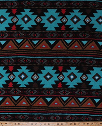 Fleece Peace Stripe Stripes Southwest Southwestern Turquoise Brown Red Aztec Fleece Fabric Print by the Yard ()