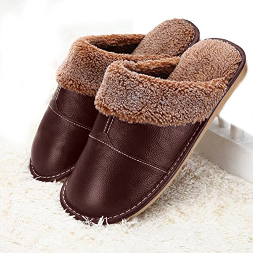 Nanxson(TM) Men's Warm Solid Leather Slipper TX0007 (EU 43-44(US 9-10 ), coffee) (Kids Hobbit Feet)