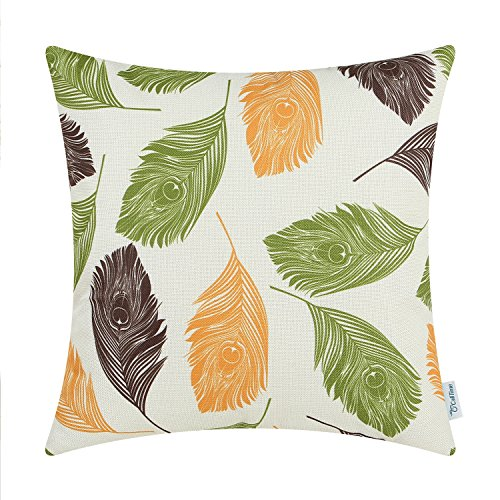 CaliTime Canvas Throw Pillow Cover Case for Couch Sofa Home Decoration Peacock Feathers 18 X 18 inches Orange Coffee Olive