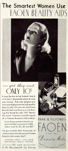 1934-ad-faoen-beauty-aids-park-tilford-woolworth-cleansing-cream-face-powder-original-print-ad