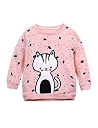 KONFA Teen Toddler Baby Girls Cat Embroider Print T-Shirt,for 0-5 Years,Kids Long Sleeve Blouse Tops Autumn Clothing Set