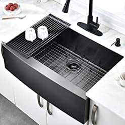 Farmhouse Kitchen 33 Inch Black Farmhouse Sink – HOSINO Apron Curved Front kitchen Sink 16 Gauge Single Bowl Gunmetal Matte Black… farmhouse kitchen sinks