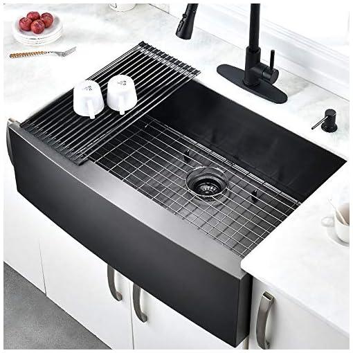 Farmhouse Kitchen HOSINO 33 Inch 16 Gauge Black Farmhouse Sink, Stainless Steel Kitchen Sink Apron Front Sink Single Bowl Black Sink… farmhouse kitchen sinks