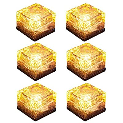 YOUDirect Solar LED Lights - Waterproof Crystal Glass Brick LED Night Lamp Sensor Solar Ice Rocks Light for Garden Courtyard Pathway Pool Pond Outdoor Decoration