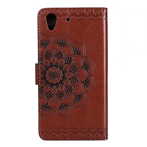 YAJIE-Carcasa Funda Para Huawei Honor 5A / Huawei Y6 2 / Y6 II en relieve medio diseño de flores [correa para la muñeca] Cartera de cuero Premium de la PU Flip Case ( Color : Green ) Brown