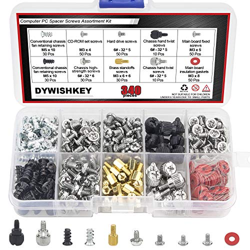 DYWISHKEY PC Computer Screws Standoffs Set Assortment Kit, 340 PCS ()