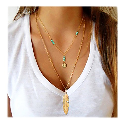 Wowanoo Simple Layered Bar Pendant Necklace Boho Feather Chain Necklace for Women Jewelry Feather G for $<!--$7.99-->