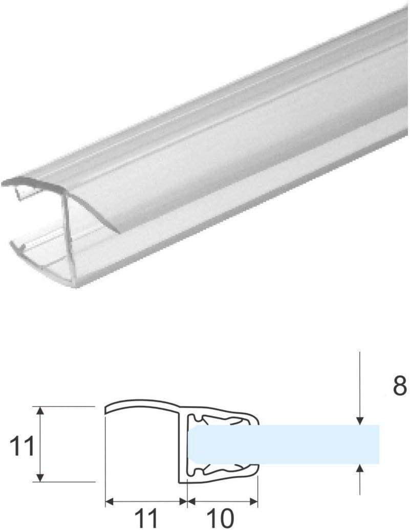 Perfil de mampara de ducha, con tapa blanda para cristal de 8 mm de grosor, 2,20 m: Amazon.es: Bricolaje y herramientas
