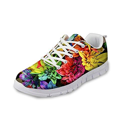 Kramar Idé Blommor Kvinna Mode Sneakers Lätta Löparskor Blom 4