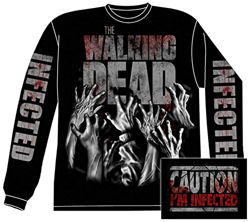The Walking Dead Zombie Infected Hands Official Licensed Adult Long Sleeve Shirt L Black