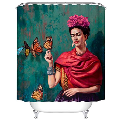 RS-pthrA2!!! Bath Decor Shower Curtain Mexican Style Like Frida Kahlo with The Butterfly on Green Background Waterproof Polyester Fabric Bathroom Curtain with Hooks and Three Size can be Choose
