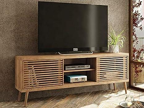 Caemmum - Mueble para TV (120 cm, Puertas persianas, Patas de Madera): Amazon.es: Hogar