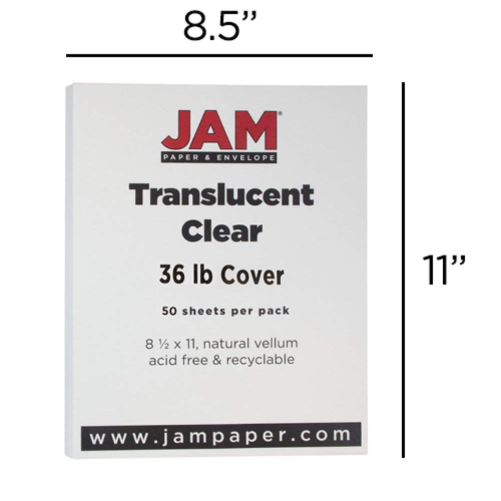 JAM PAPER Translucent Vellum 36lb Cardstock - 8.5 x 11 Coverstock - Clear - 250 Sheets/Ream by JAM Paper (Image #4)