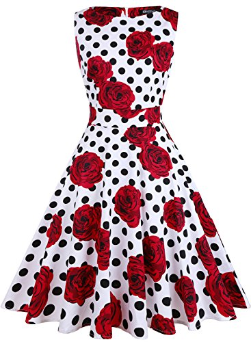 OWIN Women's Vintage 1950's Floral Spring Garden Picnic Dress Party Cocktail Dress (M, White+Polka Dot+Rose) (Floral Dress Polka Dot)