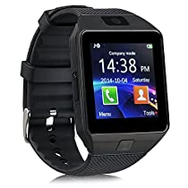 Qiufeng DZ09 Smart Watch Smartwatch Bluetooth Sweatproof Phone with Camera TF/SIM Card Slot for Android and IPhone Smartphones for Kids Girls Boys MenWomen(Black)