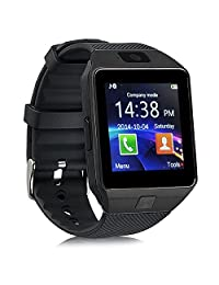 Qiufeng DZ09 Smart Watch Smartwatch Bluetooth Sweatproof Phone with Camera TF/SIM Card Slot for Android and iPhone Smartphones for Kids Girls Boys Men Women(Black)