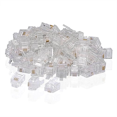 SIENOC 100 PCS RJ11 Plug 6P4C Phone Modular Telephone Cord Connector Adapter Crimp (Telephone Connector)
